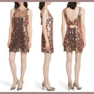 NWT $598 kate spade Sequin Bow Minidress Rose Gold